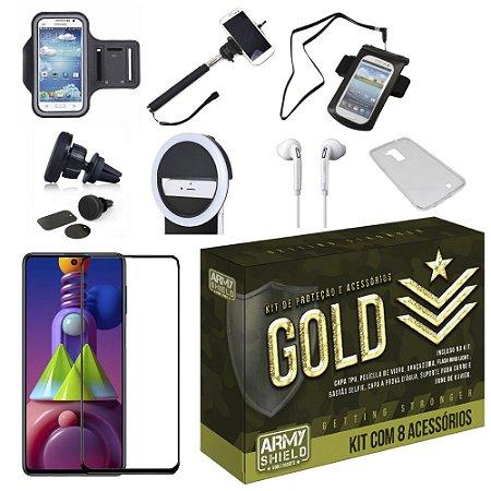Kit Gold Galaxy M51 com 6 Acessórios + Capinha + Pelicula 3D - Armyshield