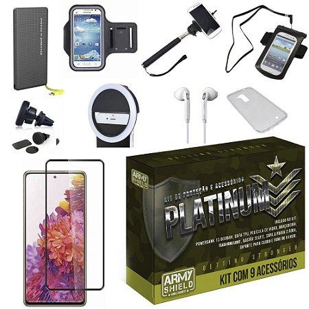 Kit Platinum Galaxy S20 FE com 8 Acessórios + Carregador Portatil 10k Tipo C - Armyshield
