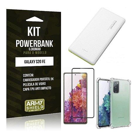 Kit Carregador Portátil 5K Tipo C Galaxy S20 FE + Capa Anti Impacto +Película Vidro 3D -Armyshield