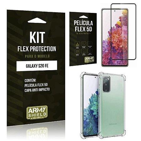 Kit Flex Protection Galaxy S20 FE Capa Anti Impacto + Película Flex 5D - Armyshield