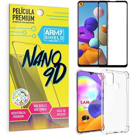 Kit Película Premium Nano 9D para Galaxy A21S + Capa Anti Impacto - Armyshield