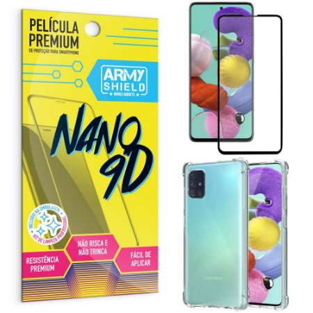 Kit Película Premium Nano 9D para Galaxy A51 + Capa Anti Impacto - Armyshield