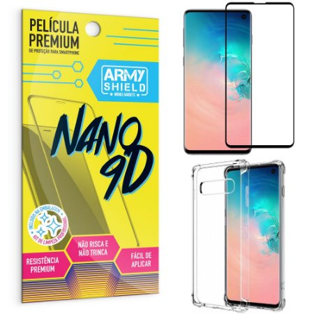 Kit Película Premium Nano 9D para Galaxy S10 + Capa Anti Impacto - Armyshield