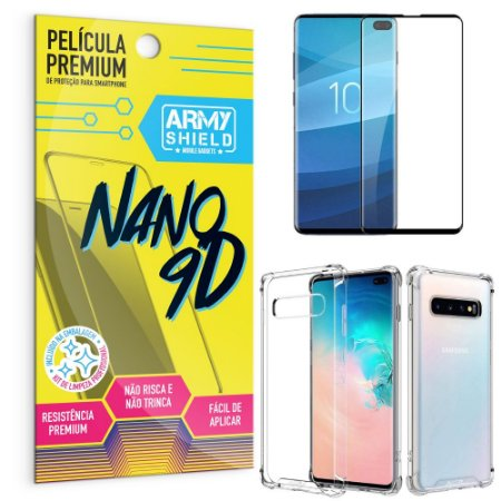 Kit Película Premium Nano 9D para Galaxy S10 Plus + Capa Anti Impacto - Armyshield