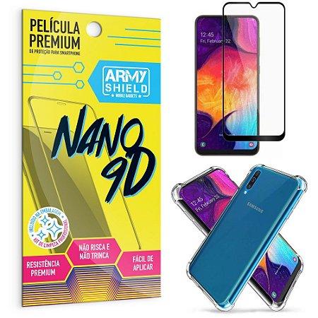 Kit Película Premium Nano 9D para Galaxy A50 + Capa Anti Impacto - Armyshield