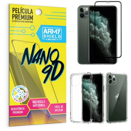 Kit Película Premium Nano 9D para iPhone 11 Pro 5.8 + Capa Anti Impacto - Armyshield