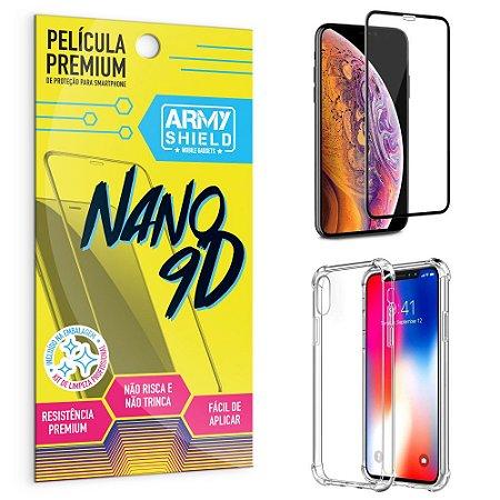 Kit Película Premium Nano 9D para iPhone X 5.8 + Capa Anti Impacto - Armyshield