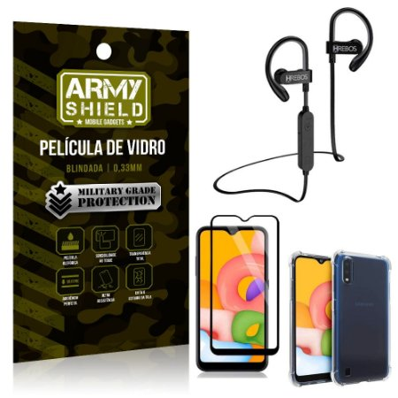 Kit Fone Bluetooth Hrebos HS188 Galaxy A01 + Película 3D + Capa Anti Impacto - Armyshield
