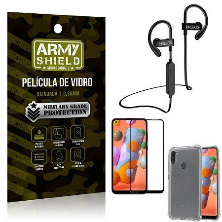 Kit Fone Bluetooth Hrebos HS188 Galaxy A11 + Película 3D + Capa Anti Impacto - Armyshield