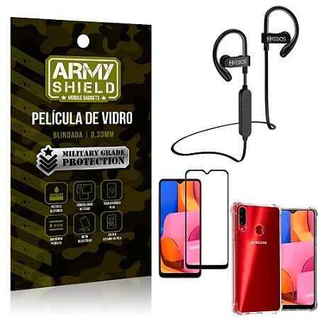 Kit Fone Bluetooth Hrebos HS188 Galaxy A20s + Película 3D + Capa Anti Impacto - Armyshield