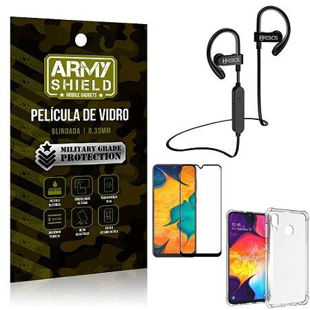 Kit Fone Bluetooth Hrebos HS188 Galaxy A30 + Película 3D + Capa Anti Impacto - Armyshield