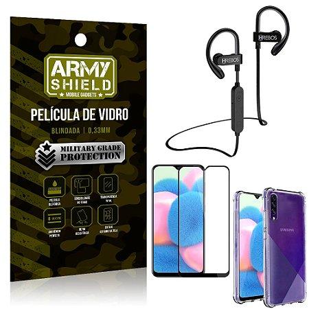 Kit Fone Bluetooth Hrebos HS188 Galaxy A30s + Película 3D + Capa Anti Impacto - Armyshield