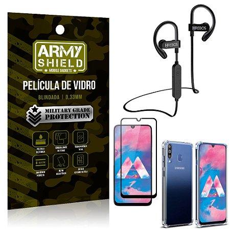 Kit Fone Bluetooth Hrebos HS188 Galaxy M30 + Película 3D + Capa Anti Impacto - Armyshield