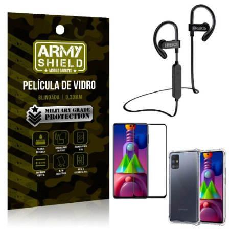 Kit Fone Bluetooth Hrebos HS188 Galaxy M51 + Película 3D + Capa Anti Impacto - Armyshield