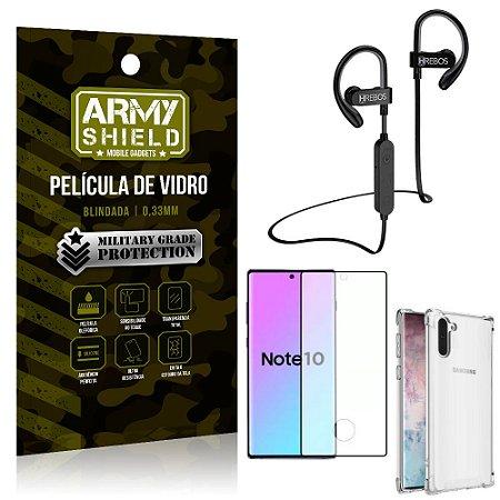 Kit Fone Bluetooth Hrebos HS188 Galaxy Note 10 + Película 3D + Capa Anti Impacto - Armyshield