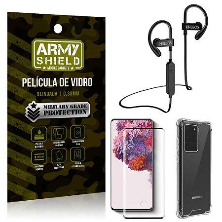 Kit Fone Bluetooth Hrebos HS188 Galaxy S20 Ultra + Película 3D + Capa Anti Impacto - Armyshield