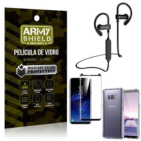 Kit Fone Bluetooth Hrebos HS188 Galaxy S8 Plus + Película 3D + Capa Anti Impacto - Armyshield