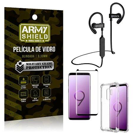 Kit Fone Bluetooth Hrebos HS188 Galaxy S9 Plus + Película 3D + Capa Anti Impacto - Armyshield