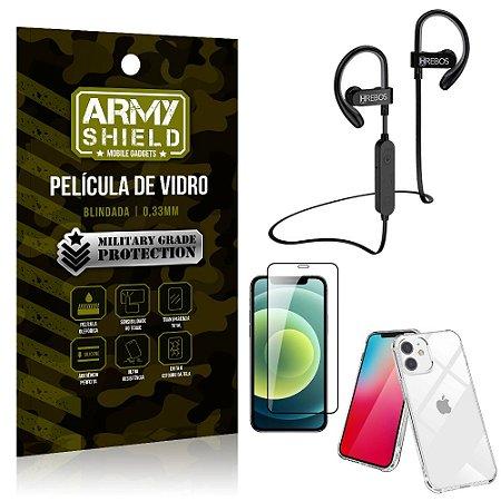 Kit Fone Bluetooth Hrebos HS188 iPhone 12 Mini 5.4 + Película 3D + Capa Anti Impacto - Armyshield