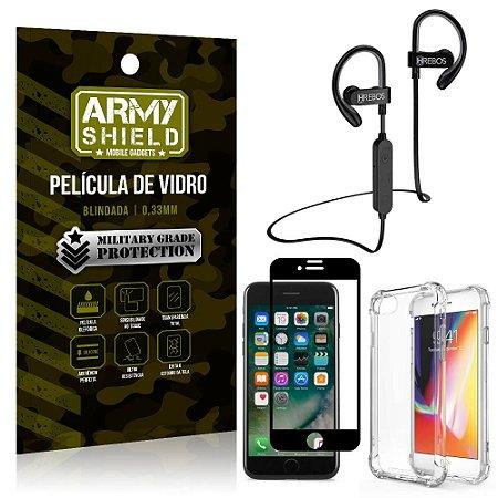 Kit Fone Bluetooth Hrebos HS188 iPhone 7 + Película 3D + Capa Anti Impacto - Armyshield