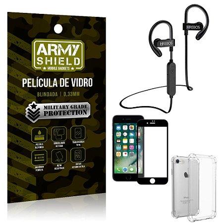 Kit Fone Bluetooth Hrebos HS188 iPhone 8 + Película 3D + Capa Anti Impacto - Armyshield