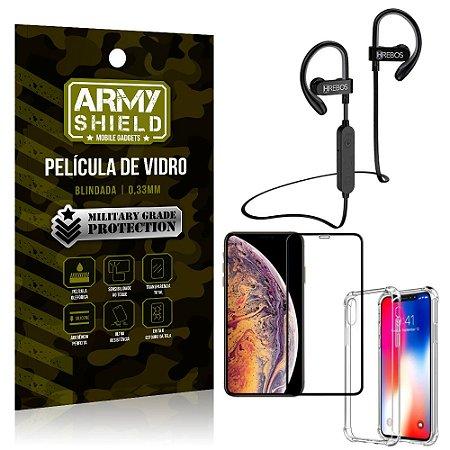 Kit Fone Bluetooth Hrebos HS188 iPhone XS 5.8 + Película 3D + Capa Anti Impacto - Armyshield