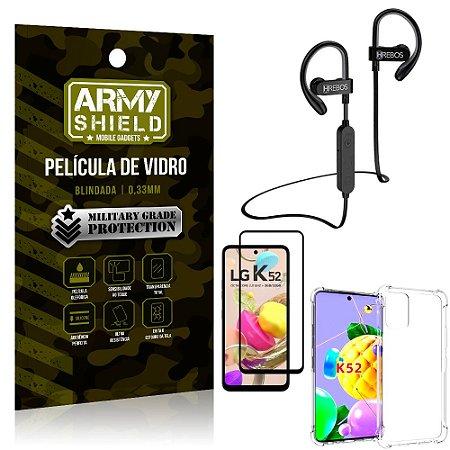 Kit Fone Bluetooth Hrebos HS188 LG K52 + Película 3D + Capa Anti Impacto - Armyshield