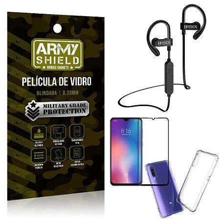 Kit Fone Bluetooth Hrebos HS188 Mi 9 SE + Película 3D + Capa Anti Impacto - Armyshield