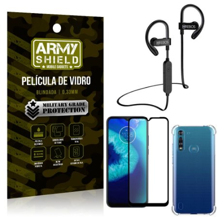 Kit Fone Bluetooth Hrebos HS188 Moto G8 Power Lite + Película 3D + Capa Anti Impacto - Armyshield