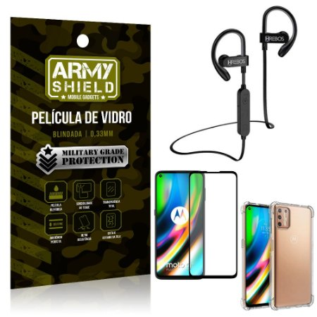 Kit Fone Bluetooth Hrebos HS188 Moto G9 Plus + Película 3D + Capa Anti Impacto - Armyshield