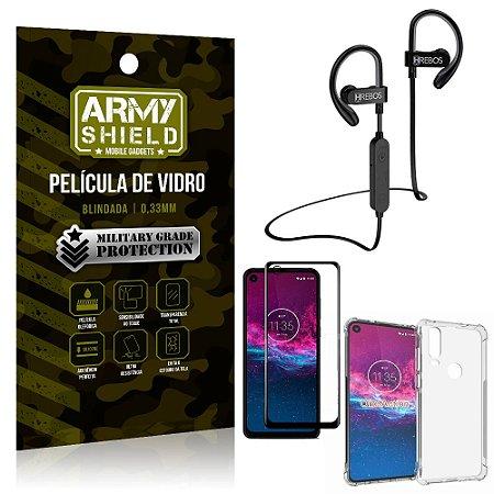 Kit Fone Bluetooth Hrebos HS188 Moto One Action + Película 3D + Capa Anti Impacto - Armyshield