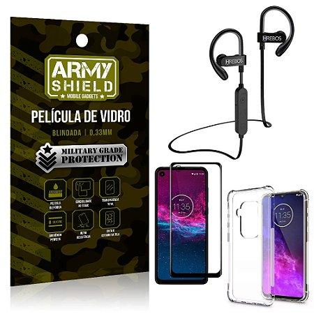 Kit Fone Bluetooth Hrebos HS188 Moto One Zoom + Película 3D + Capa Anti Impacto - Armyshield