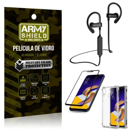 Kit Fone Bluetooth Hrebos HS188 Zenfone 5 ZE620KL + Película 3D + Capa Anti Impacto - Armyshield