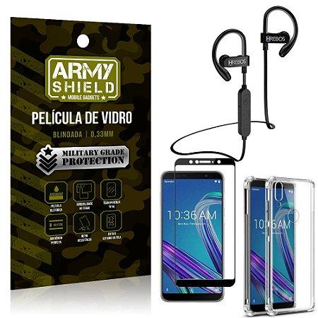 Kit Fone Bluetooth HS188 Zenfone Max Pro M1 ZB602KL + Película 3D + Capa Anti Impacto - Armyshield