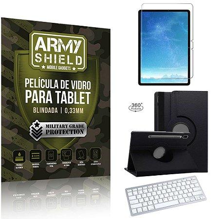 Kit Capa Giratória + Película Vidro + Teclado Bluetooth Galaxy Tab S7 11.0' T870 T875 - Armyshield