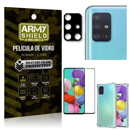 Kit Película de Câmera Galaxy A51 + Película 3D + Capa Anti Impacto - Armyshield