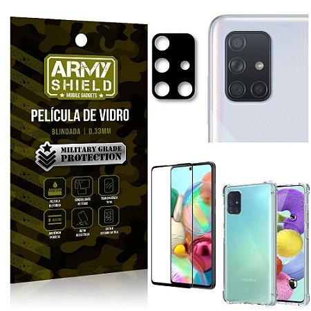 Kit Película de Câmera Galaxy A71 + Película 3D + Capa Anti Impacto - Armyshield