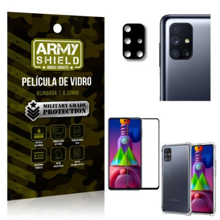 Kit Película de Câmera Galaxy M51 + Película 3D + Capa Anti Impacto - Armyshield