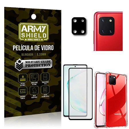 Kit Película de Câmera Galaxy Note 10 Lite + Película 3D + Capa Anti Impacto - Armyshield