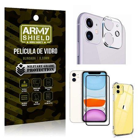 Kit Película de Câmera iPhone 11 6.1 + Película 3D + Capa Anti Impacto - Armyshield