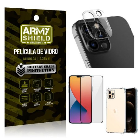 Kit Película de Câmera iPhone 12 Pro Max 6.7 + Película 3D + Capa Anti Impacto - Armyshield