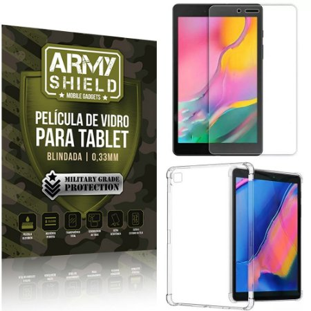 Kit Capa Anti Impacto + Película de Vidro Galaxy Tab A 8.0' T295 T290 - Armyshield