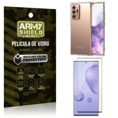 Kit Anti Impacto Galaxy Note 20 Ultra Capinha Anti Impacto + Película de Vidro 3D - Armyshield