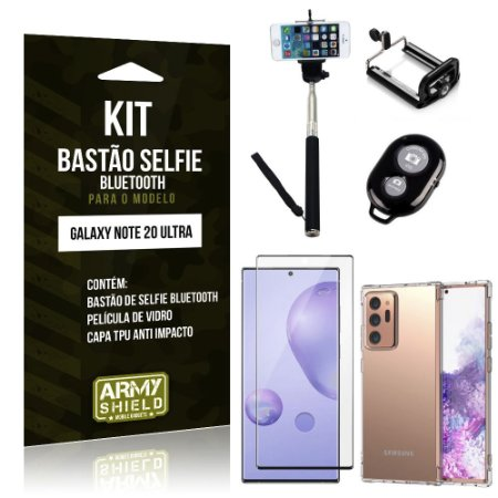 Kit Bastão Selfie Bluetooth Note 20 Ultra +Capinha Anti Impacto +Película Vidro 3D - Armyshield