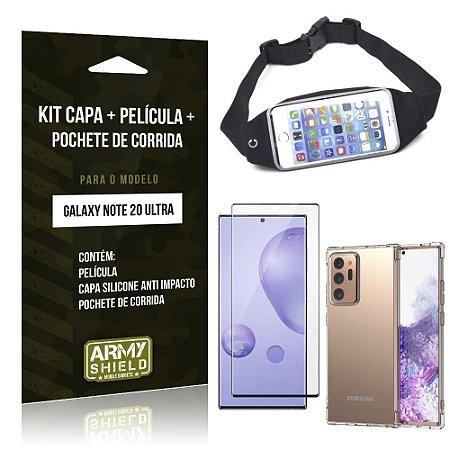 Kit Pochete Galaxy Note 20 Ultra Pochete + Capinha Anti Impacto + Película de Vidro 3D - Armyshield