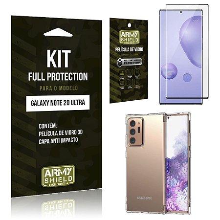 Kit Full Protection Galaxy Note 20 Ultra Película de Vidro 3D + Capa Anti Impacto - Armyshield