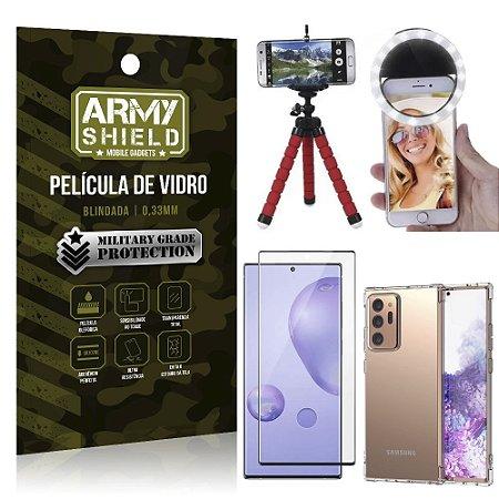 Kit Tripé Flex + Flash Ring Galaxy Note 20 Ultra + Capa + Película 3D