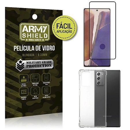 Kit Película 3D Fácil Aplicação Galaxy Note 20 Película 3D + Capa Anti Impacto - Armyshield