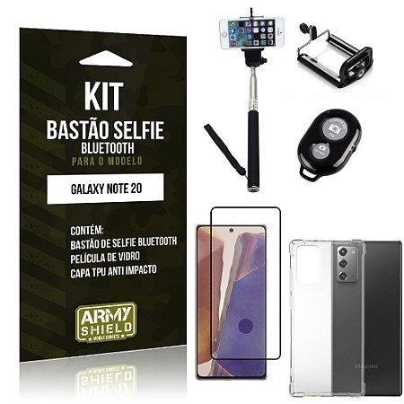 Kit Bastão de Selfie Bluetooth Galaxy Note 20 +Capinha Anti Impacto +Película Vidro 3D - Armyshield