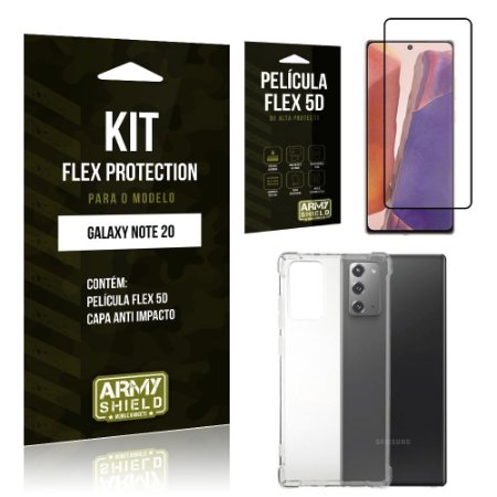 Kit Flex Protection Galaxy Note 20 Capa Anti Impacto + Película Flex 5D - Armyshield